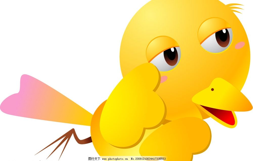 小鸟 黄色的小鸟 可爱的小鸟 矢量动物 矢量图库 可爱动物 ai