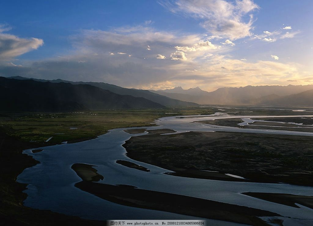 河流 早晨 草原 天空 河水 自然景观 自然风景 摄影图库
