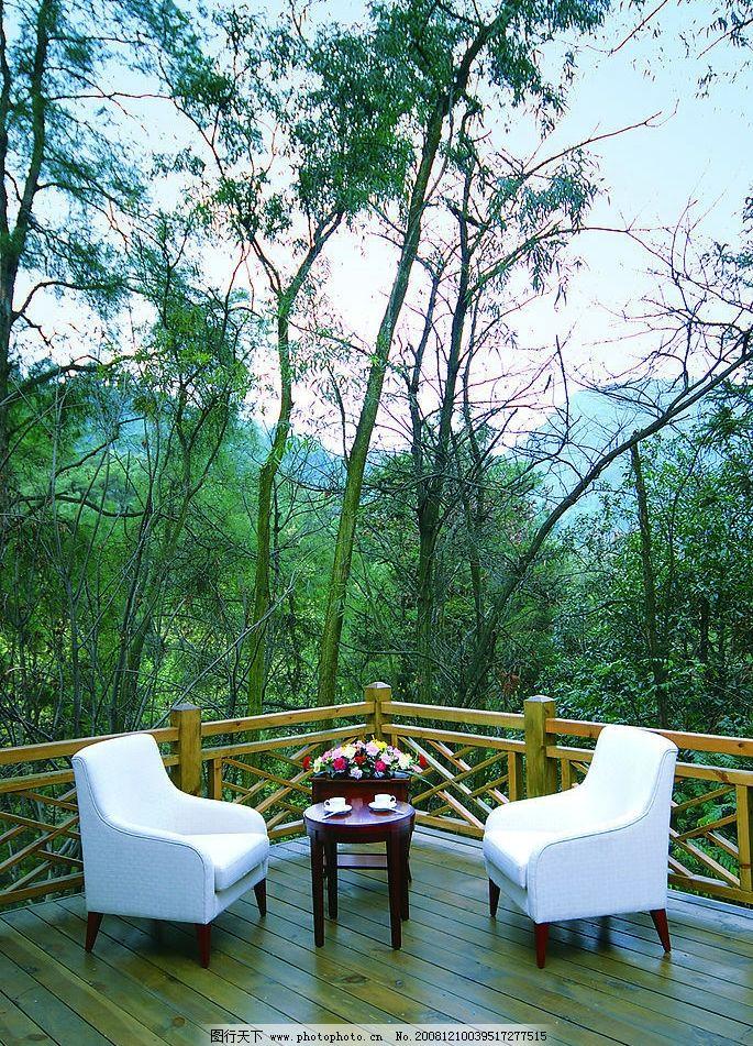 室外场景 森林 沙发 茶几 露台 室外小景 其他 图片素材 摄影图库