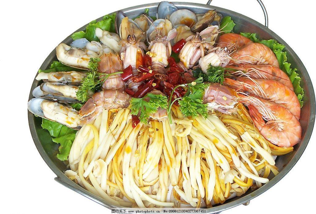 海鲜火锅 大虾 虾爬子 蛏子 蚬子 金针菇 餐饮美食 传统美食