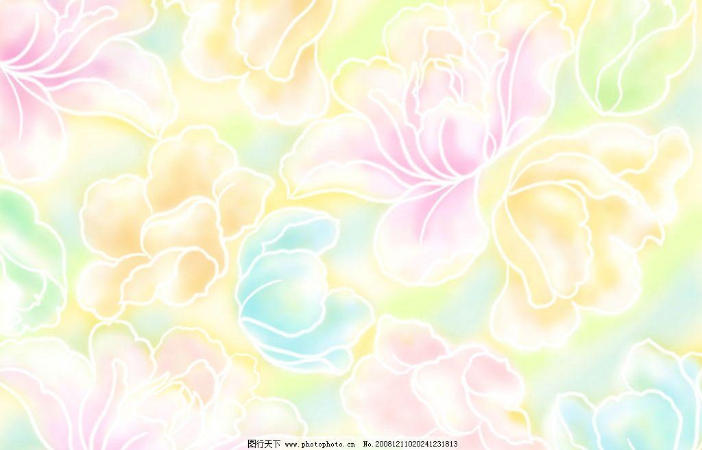 多彩牡丹背景 牡丹 芙蓉花 花朵 花瓣 五颜六色 水彩 底纹边框 背景
