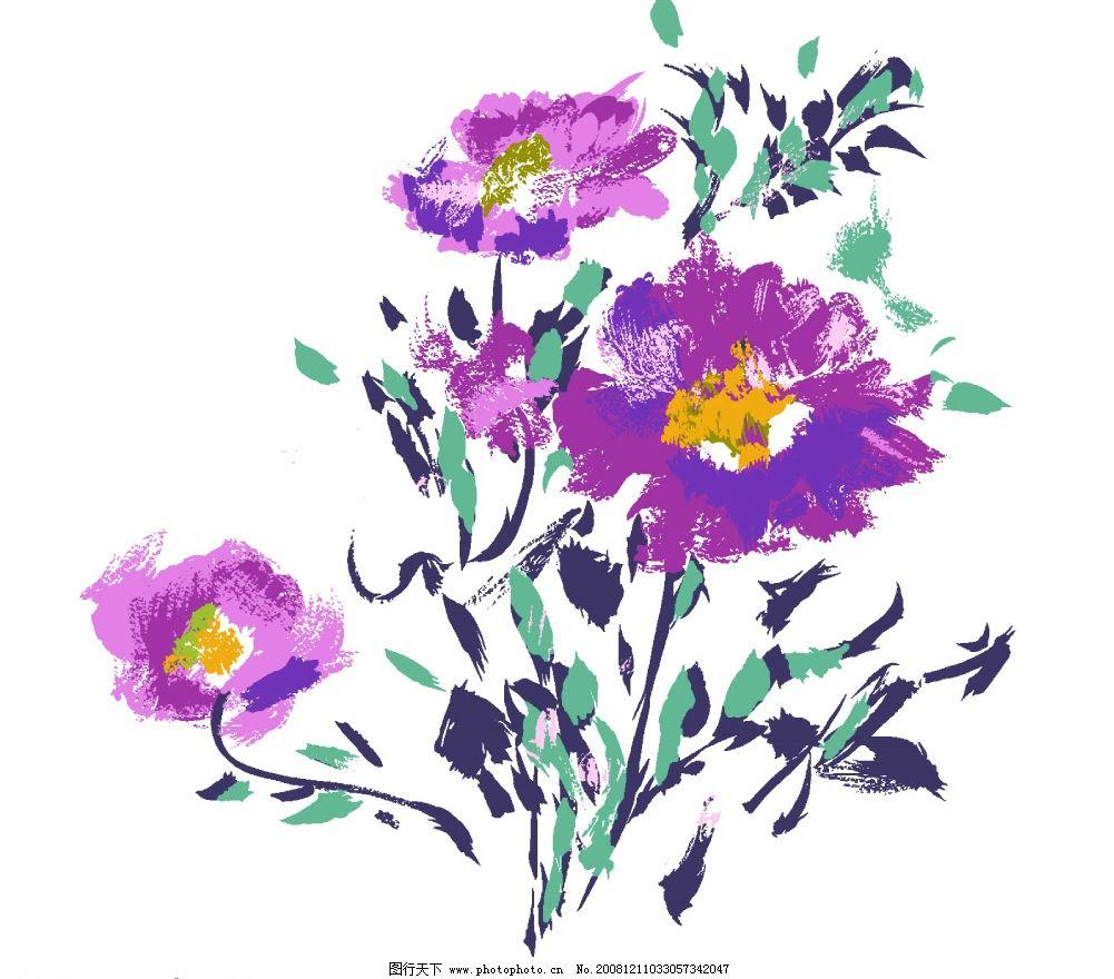 彩绘花卉 手绘花卉 花朵 分层花卉 花纹 花框 源文件库