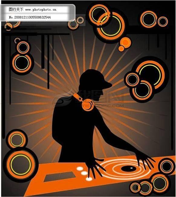 矢量dj dj打碟 圆圈边框 放射背景 eps