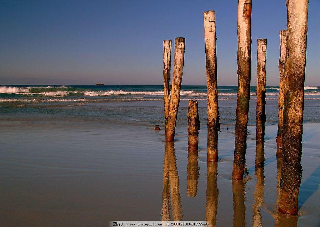 沙滩木头图片