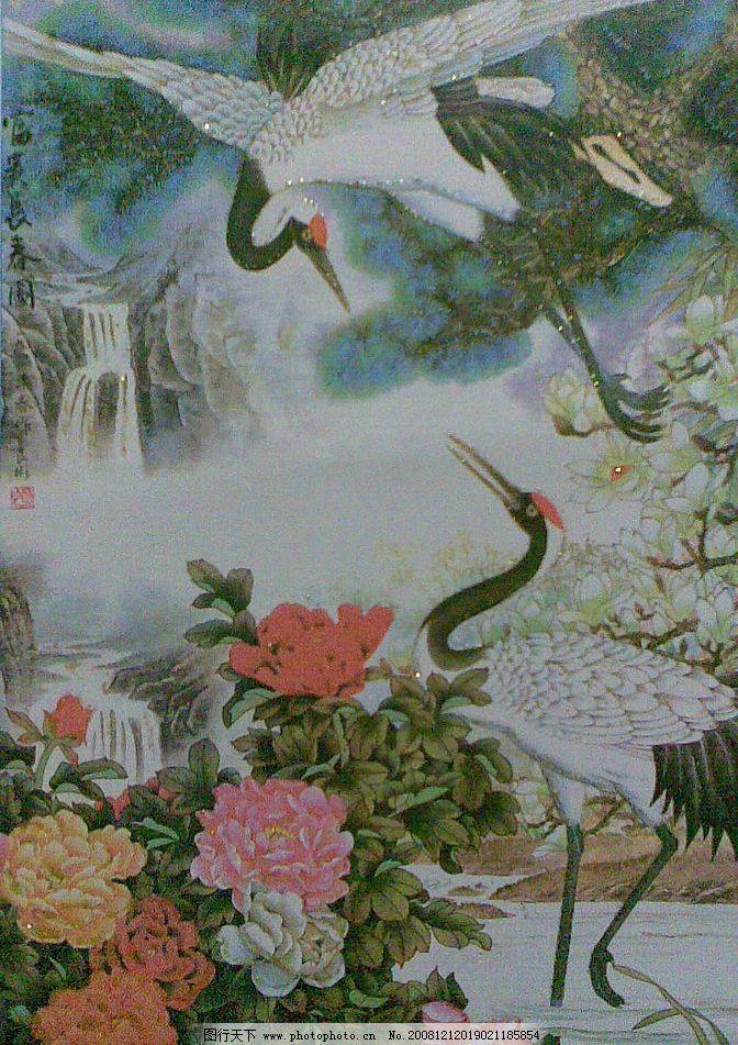 松鹤牡丹图 松树 仙鹤 牡丹 山 水 瀑布 兰花 树 飞翔 文化艺术 绘画