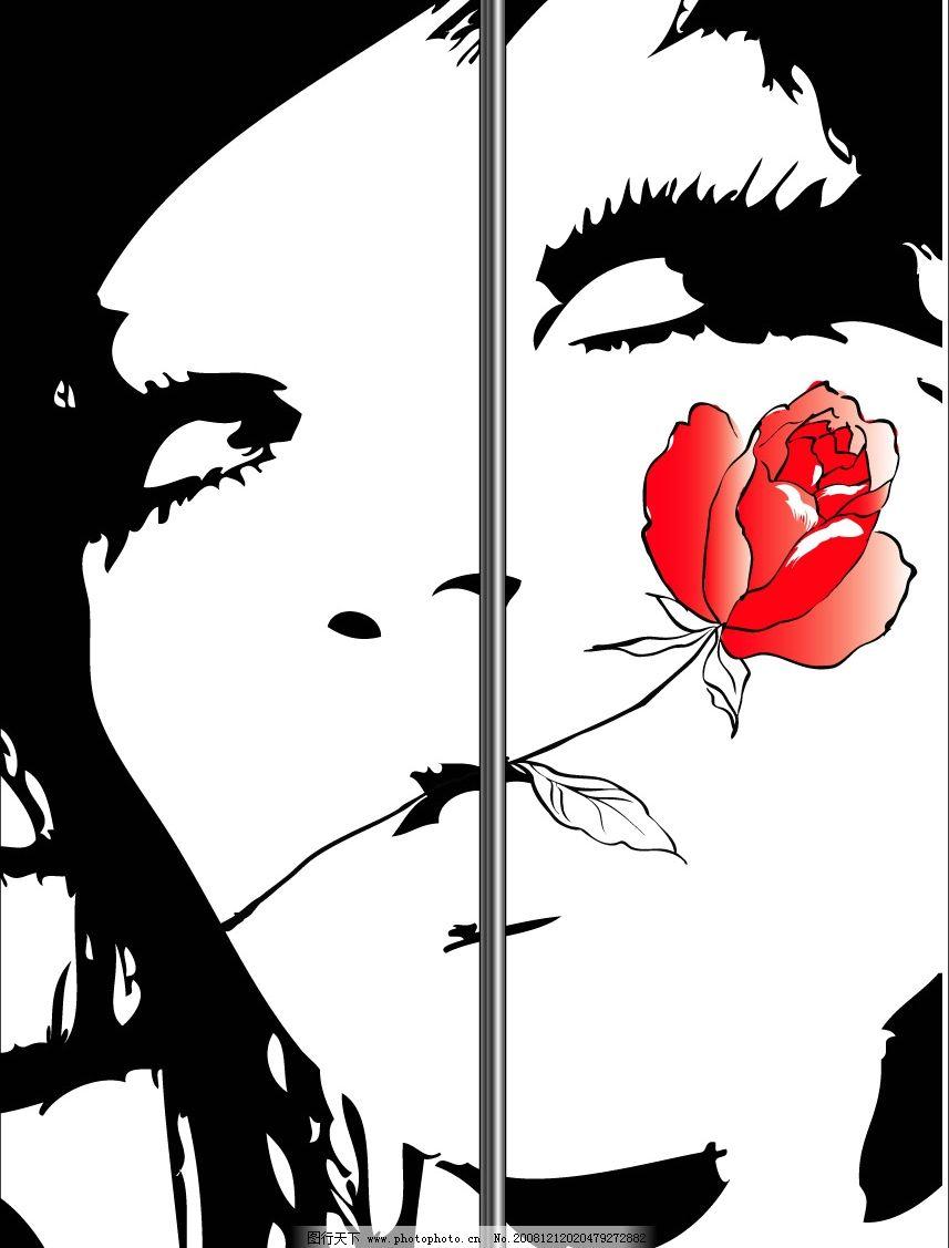 玻璃移门彩印 矢量 非主流 美女 黑白 红 鲜花 矢量图库 移门图