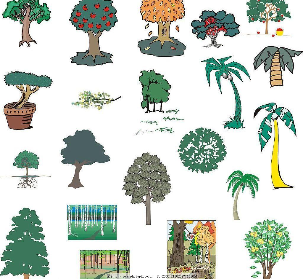 树木 树叶 树 植物 生物 叶子 木 生物世界 树木树叶 矢量图库 cdr