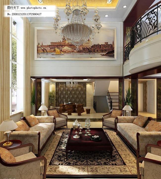 设计图库 室内设计 欧式别墅 欧式 别墅 沙发 茶柜 品茶 油画 门套 环