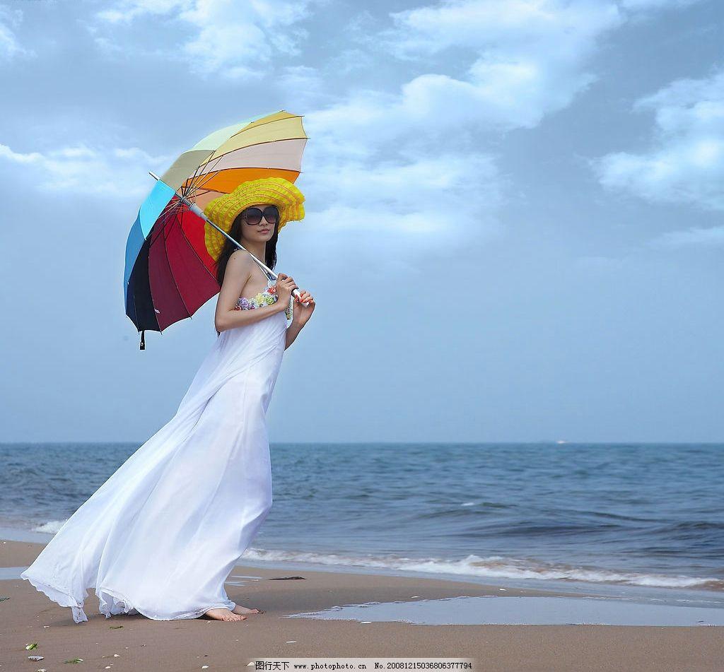 海边美女 天空 白云 晴天 伞 大海 沙滩 帽子 人物摄影 白色纱裙