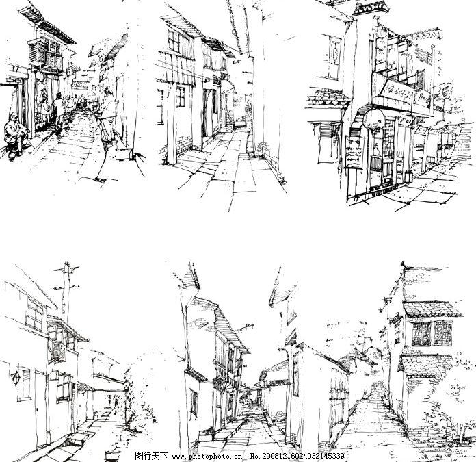 西塘古镇速写 线描 家乡速写 画 单色图 源文件 风景名胜 矢量图库