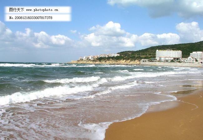 晴朗 沙滩 山水风景 潮涌海滩 威海 沙滩 金色 大海 海浪 碧波 远山