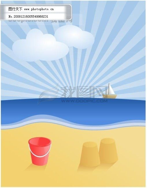 矢量卡通风景 矢量海滩风景