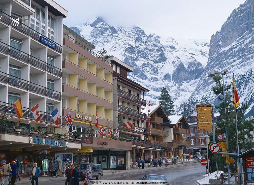 瑞士风光 风景 街道 雪山 旅游摄影 国外旅游 摄影图库