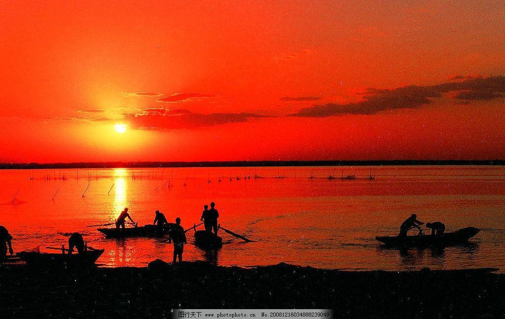 夕阳 日落 风景 海边 傍晚 摄影图库