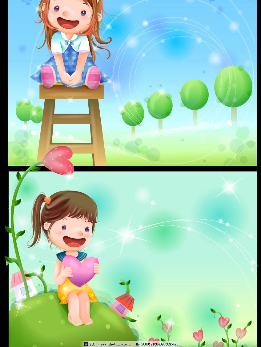 可爱小女孩梦幻风景 韩国 男孩 儿童 田野 秋天 星光 草地 绿叶