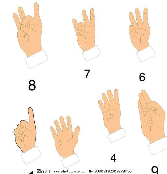 数字手势 盲语手势 标识标志图标 其他 矢量图库 ai