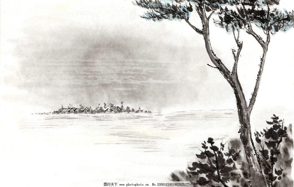 国画树 风景 水面 水墨 山水画