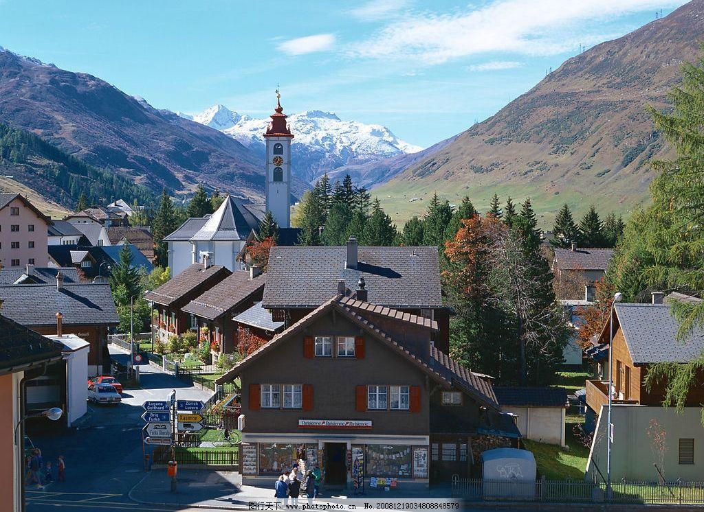 建筑 蓝天 高山 自然景观 自然风景 摄影图库 jpg 350dpi 欧洲风景图片