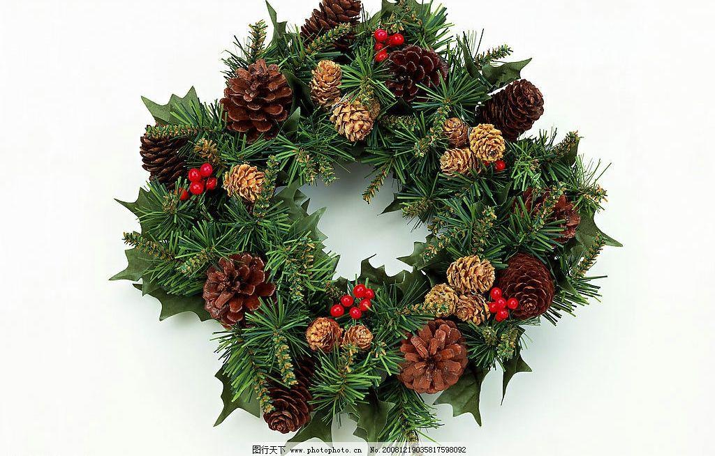 圣诞花环 圣诞 节日 花环 松树 松枝 松针 松子 松树塔 文化艺术 节日