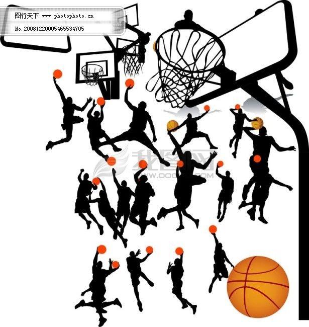 篮球运动人物剪影 篮球运动人物剪影
