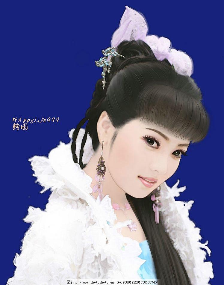 原创手绘之白衣古装美女 古装 武侠 古代 美女 白衣 白纱 蕾丝 发簪