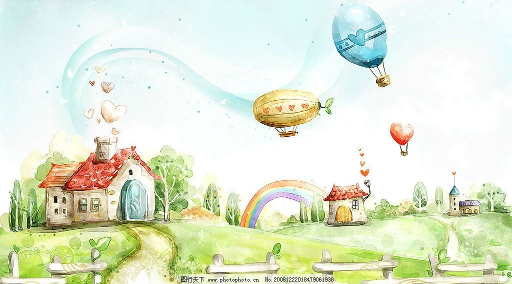 梦幻田园 房子 热气球