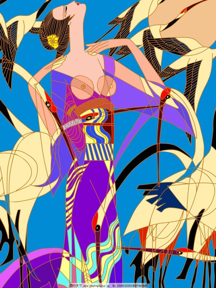 老师风格 线描 矢量白鹤 少数民族 线描少女 壁画 文化艺术 美术绘画