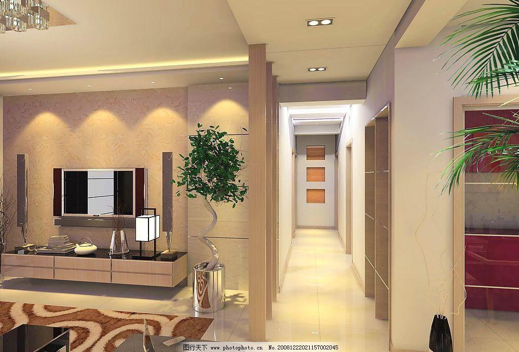 客厅效果图      电脑 电视 树 移门 3d设计 3d作品 设计图库 72dpi j