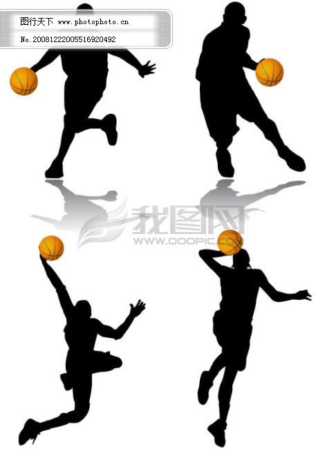 篮球运球动作剪影