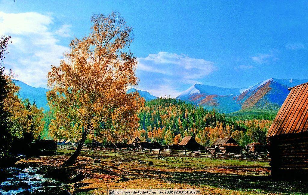 新疆风景 木屋图片