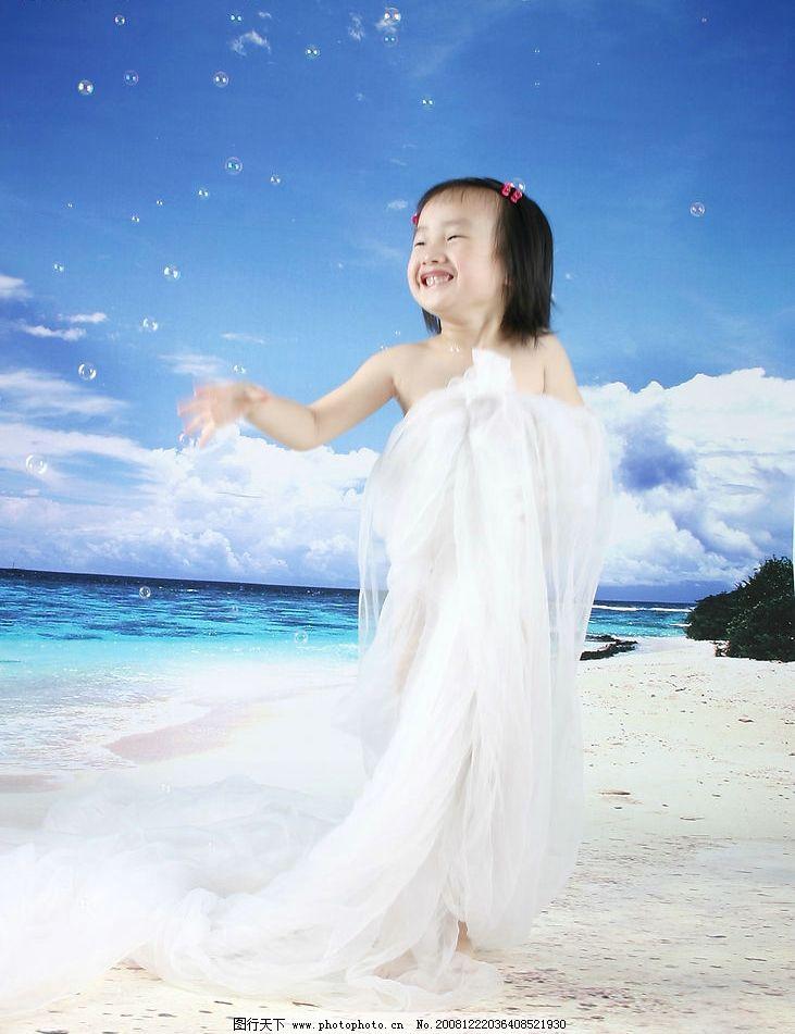泡泡 海边 沙滩 蓝天 白云 女孩 白纱 笑脸 儿童摄影 可爱的小女孩