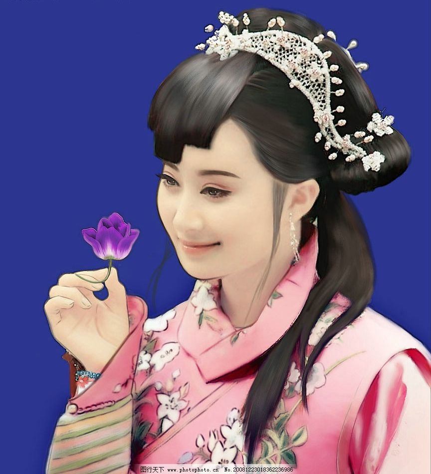 原创手绘之古典美女 古装 古代 武侠 刘海 微笑 美丽 花朵 捻花