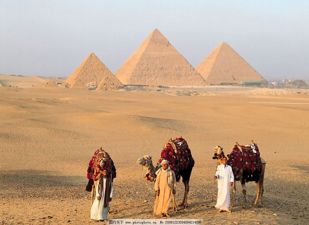 金字塔 沙漠 骆驼 埃及人 国外旅游 摄影图库