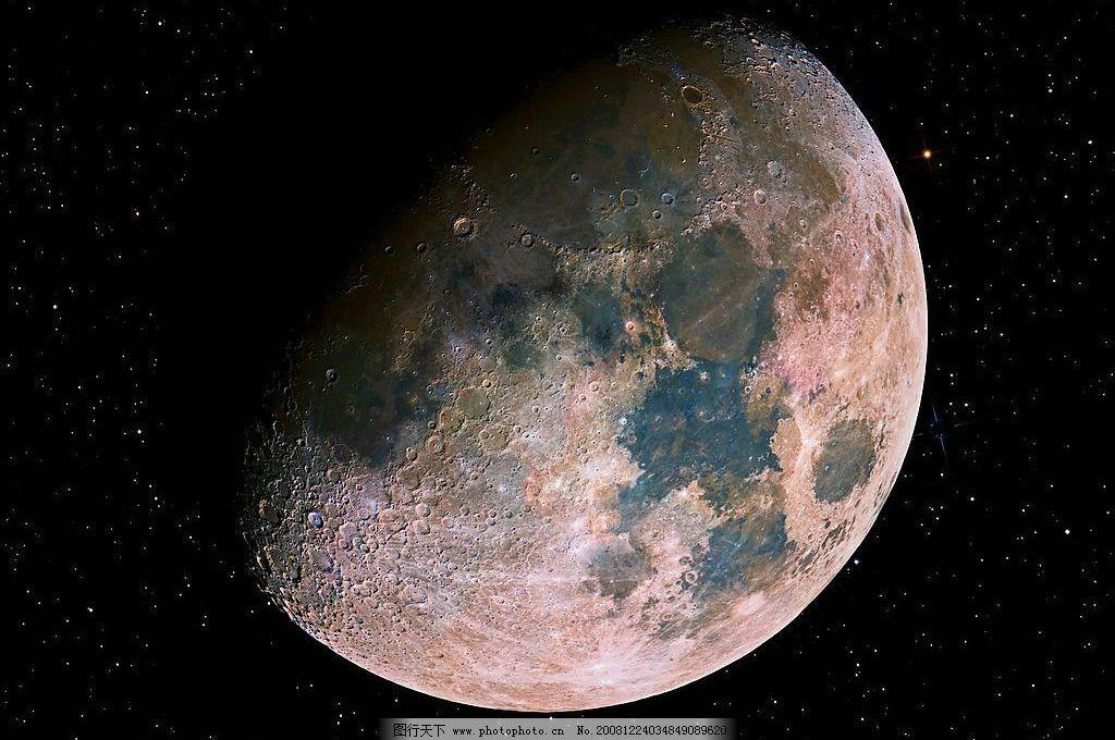 月球 月亮 月 圆 缺 星光 黑夜 彩色 自然景观 自然风景 摄影图库 72