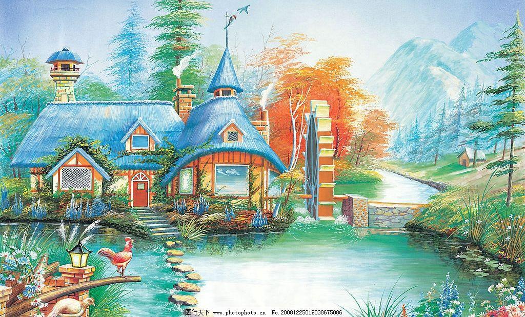 风景 绘画风景 美景 水 房屋 公鸡 文化艺术 绘画书法 设计图库 150