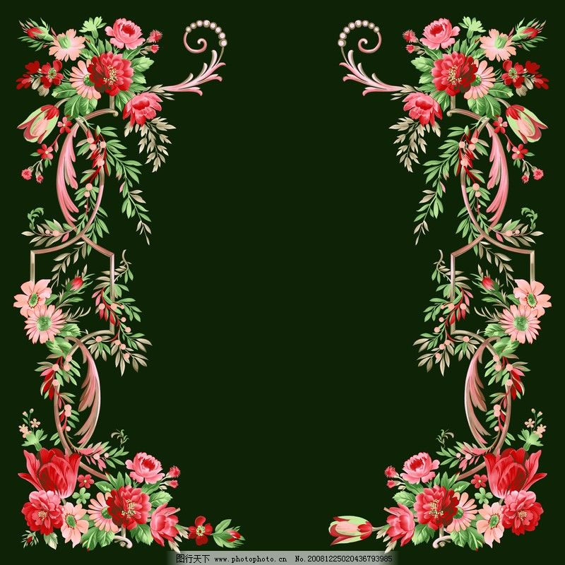 自然风景 花卉边框