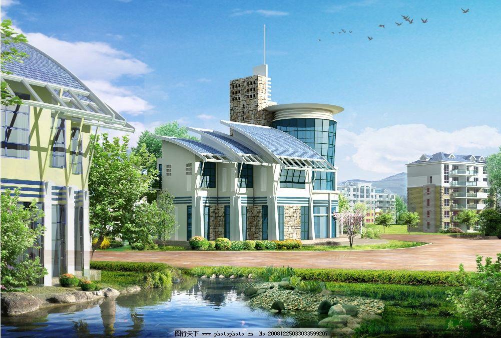 园林建筑后期制作 园林 建筑 后期素材 池塘 别墅 树林 草 天空 鸟