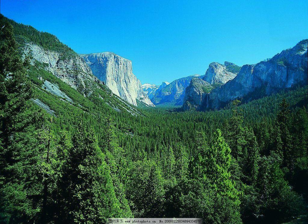 峡谷密林 蓝天 山坡 树林 阳光 高清 风景 自然景观 自然风景