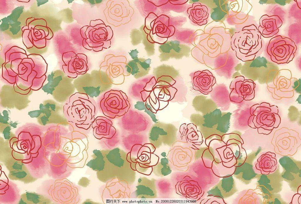 水彩花 玫瑰花 水彩 底纹 花丛 背景 底纹边框 花边花纹 设计图库 72