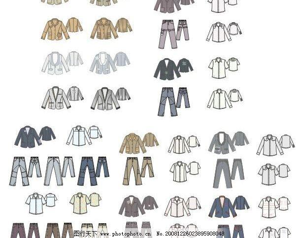最新42套 男士 西装 衬衫 裤子 细节矢量图 共分5页图片