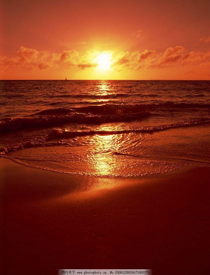 日落的海边 黄昏 夕阳 浪漫 昏暗 旅游摄影 摄影图库