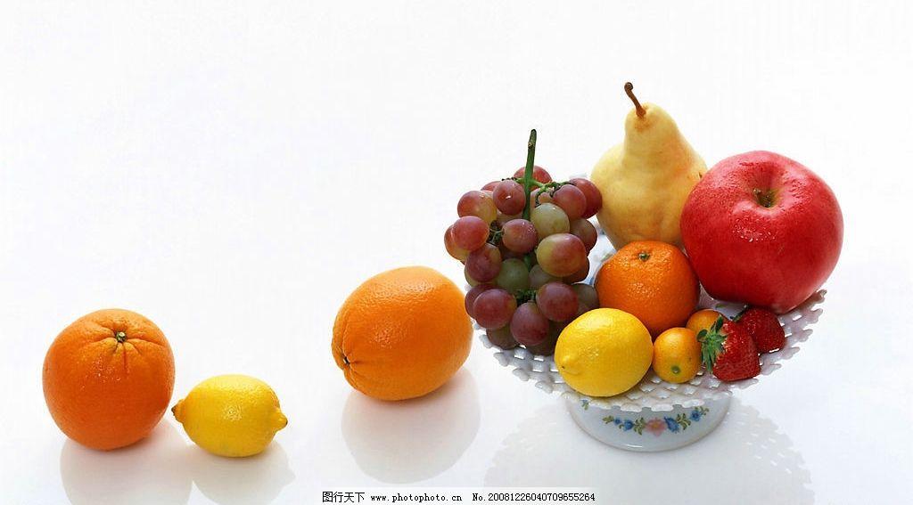 水果 桔子 香蕉 葡萄 梨 橙子 盘子 餐饮美食 其他 摄影图库 180dpi