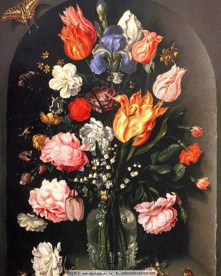 鲜花花瓶 欧洲油画 鲜花 风景 设计 设计图库 150dpi     文化艺术 绘