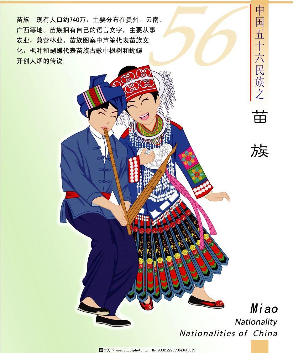 手绘苗族人物卡通