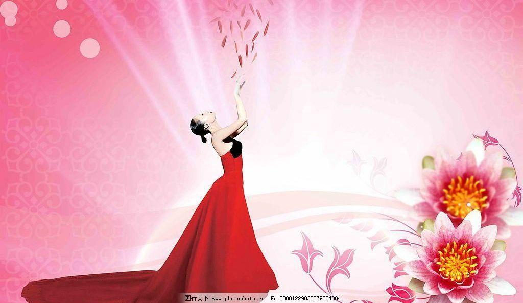红衣美女 花纹 背景素材 圆圈 人物素材 裙子 花瓣 叶子 花朵