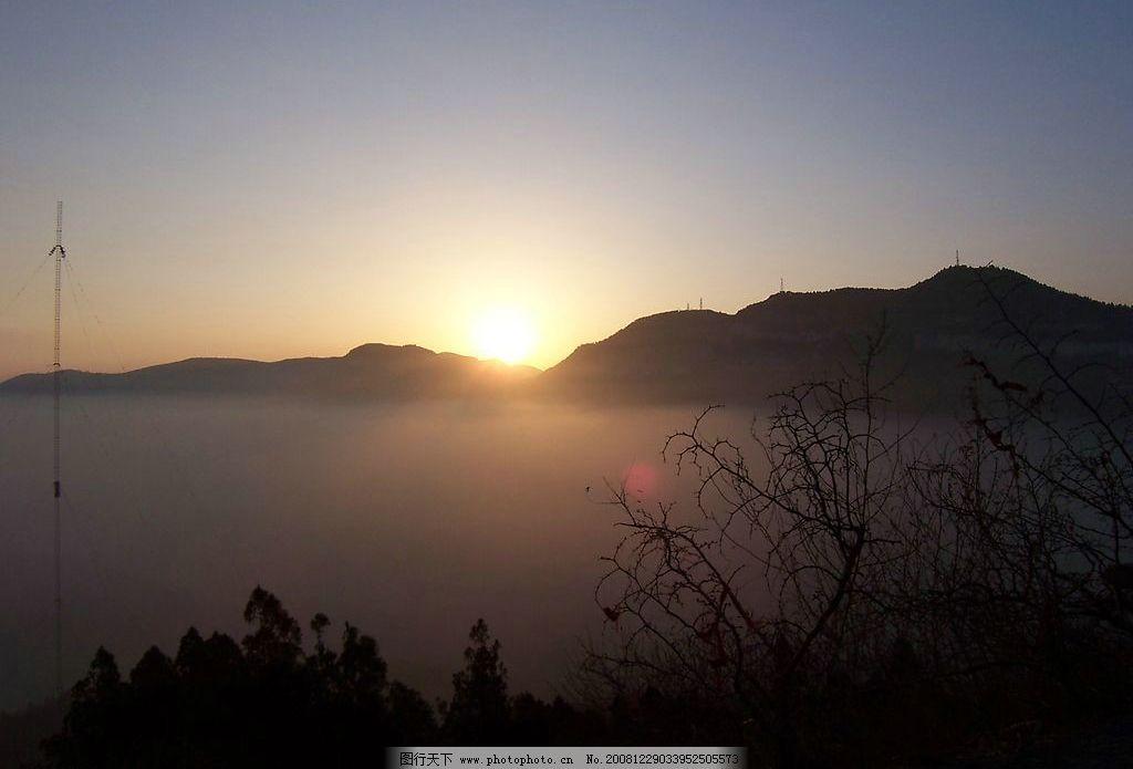 千佛山日出 登山 户外 风景 国内旅游 摄影图库