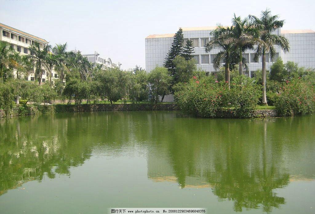 水边一角 湖水 树木 楼房 自然景观 风景名胜 摄影图库 180dpi jpg