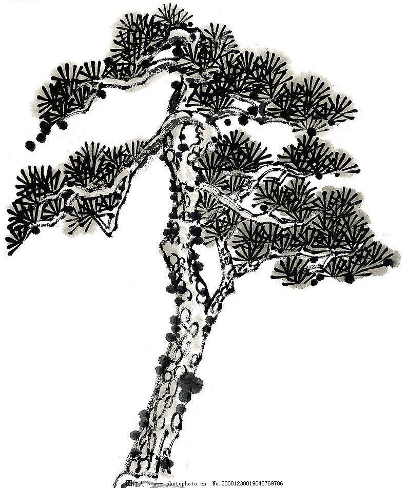 松树线描的画法步骤