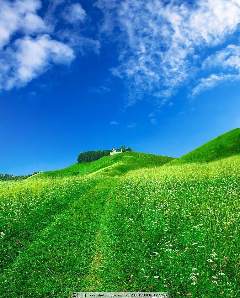 田园 绿色 野花 蓝天 白云 风景 美景 乡间 自然 自然景观 田园风光