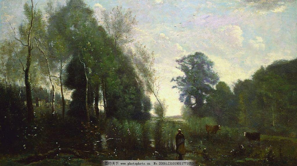 柯罗 晨雾 法国 古典 风景 油画 文化艺术 绘画书法 设计图库 72dpi